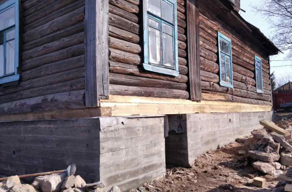 Работы по замене основания дома